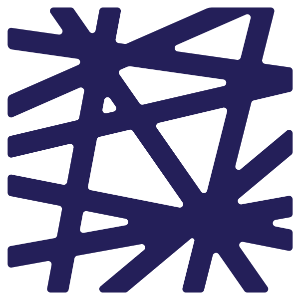 Price Lab logo in dark purple. Logo is a square made up of intersecting lines