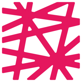 Price Lab logo in bright pink. Logo is a square made up of intersecting lines