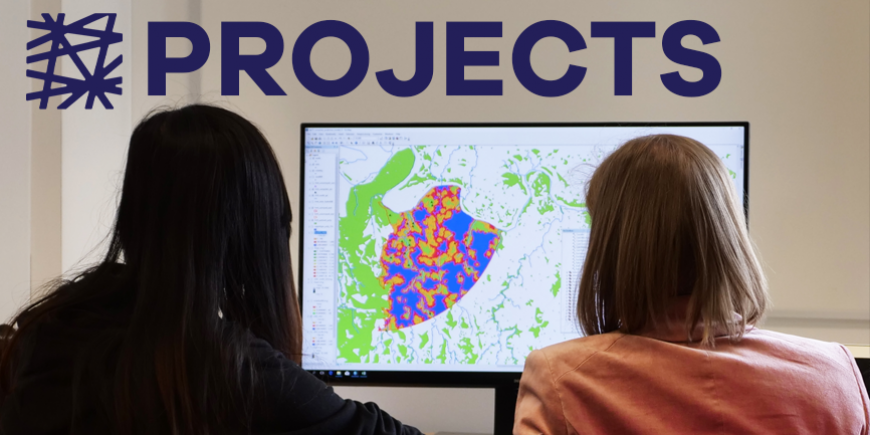 student and teacher work on a computer with GIS mapping software. The Price logo and the word Projects is in the upper right hand corner