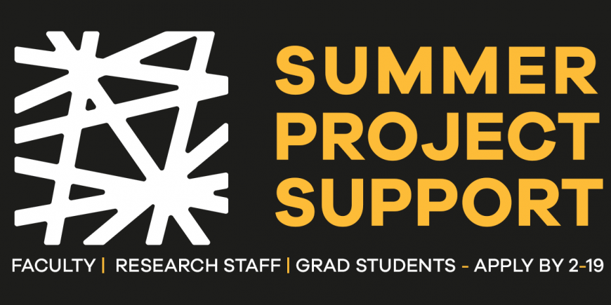 Black background with yellow text that reads Summer Project Support. FACULTY |  RESEARCH STAFF | GRAD STUDENTS - APPLY BY 2-19. The Price Lab logo is on the left in white.